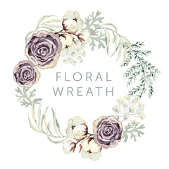 Violet roses and cotton with gray leaves on the white background. Floral wreath. Greeting card template. Vector illustration.