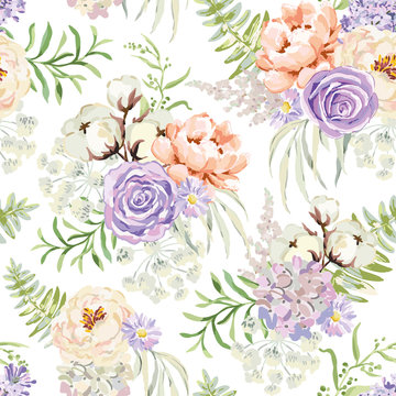 Mauve spring bouquets on the white background. Vector seamless pattern with delicate flowers. Rose, lilac, peony, cotton. Pastel pink, serenity, green colors.