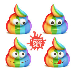 Unicorn poop emoji cartoon character stickers.