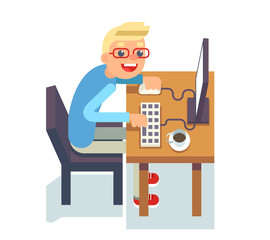 PC monitor programmer table chair guy isolated icon flat design character vector illustration