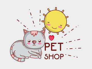 Cat on sunny day doodle cartoon