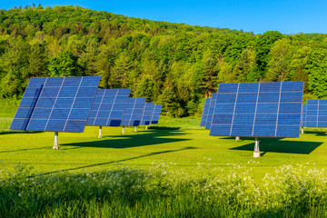 Solar Panels in a Field in Woodstock, Vermont, USA on early spring day