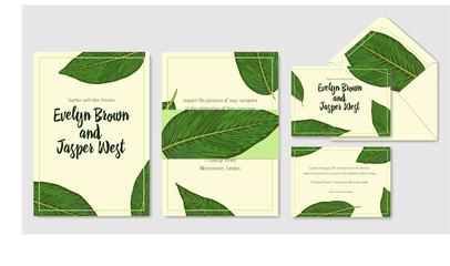 Wedding personal menu, envelope, label save the date greeting card set. Vector green leaves watercolor decorative frame design. Delicate art template
