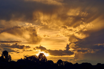 Wonderful sunset on a tour of the city of Curitiba, Parana, Brazil.