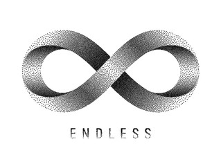 Stippled Endless sign. Mobius strip symbol. Vector illustration.