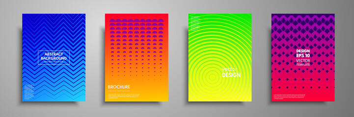 Modern pastel covers with multi-colored golden shapes and objects. Abstract design template for brochures, flyers, banners, book covers, notebooks, sketchpads