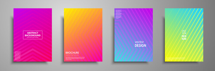 Fototapete - Colorful placard templates set with graphic geometric elements. Applicable for brochures, flyers, banners, covers, notebooks, book and magazine