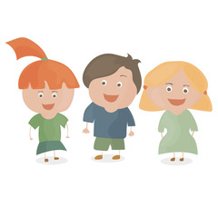 Boy and two girls. Funny cartoon and vector teen characters