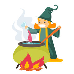Young caucasian white witch cooking the potion in the boiler. Happy red hair witch pouring potion into the cauldron pot. Vector cartoon illustration isolated on white background. Square layout.