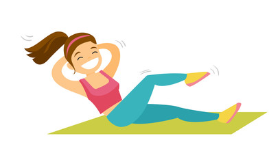 Young caucasian white woman doing crunches on a gym mat. Woman doing fitness exercise for upper and lower abs on the floor. Vector cartoon illustration isolated on white background. Horizontal layout.