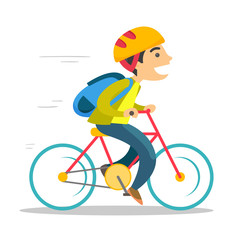 Young caucasian white teenage boy with backpack riding a bicycle to school. Teenager in helmet riding a bike. Healthy lifestyle concept. Vector cartoon illustration isolated on white background.