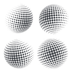 Globe shape with halftone dots. Vector illustration