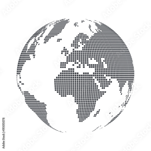 Globe shape world map with square dots vector illustration stock globe shape world map with square dots vector illustration gumiabroncs Choice Image
