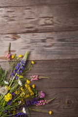 Wild flowers on old grunge wooden background (chamomile lupine dandelions thyme mint bells rape)