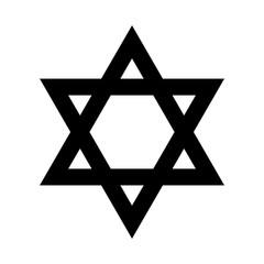 White star of King David on black background
