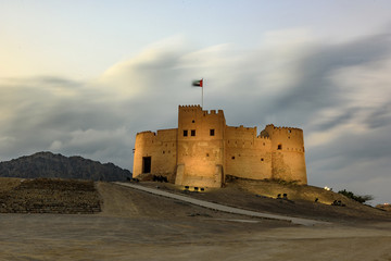 Spectacular View of Fujairah Fort in United Arab Emirates at Night