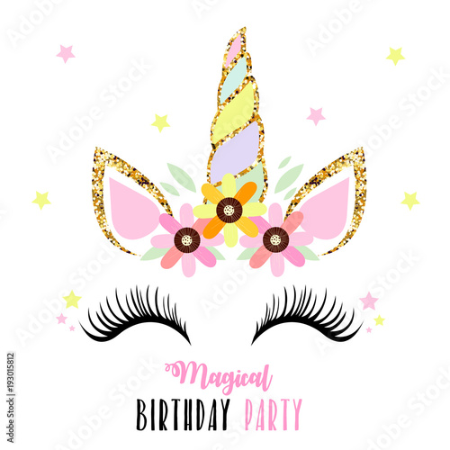 birthday invitation with unicorn fotolia com の ストック画像と