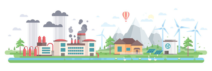 Air and water pollution - modern flat design style vector illustration
