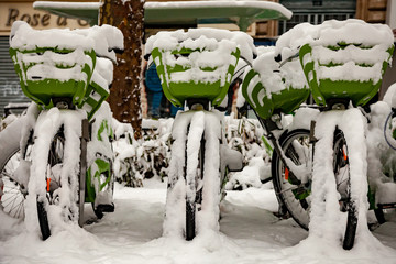Snow covered bicycles Velib in Paris