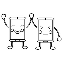 smartphone kawaii phone character cartoon vector illustration outline image