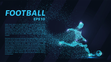 Football of the particles. Soccer is made up of dots and circles. Blue soccer player on dark background.