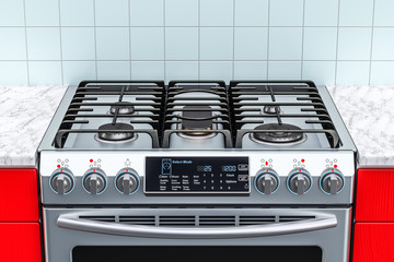 Steel gas cooker in kitchen interior. 3D rendering