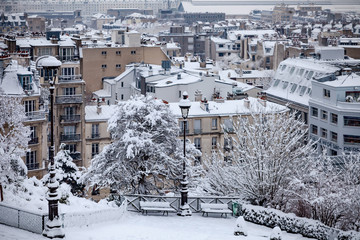 Snow covered rooftops in Paris