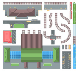 Railway elements - set of modern vector objects