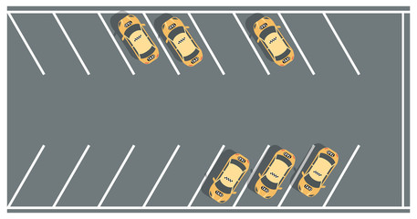 Taxi parking lots - modern vector colorful illustration
