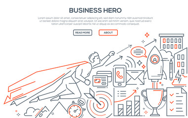 Business hero - modern line design style illustration