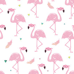 Seamless tropical trendy pattern with flamingos