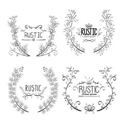 rustic set wreaths icons vector illustration design