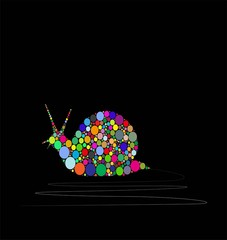 vector illustration of snail composed by colors on black background
