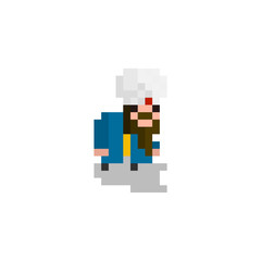 Pixel character  Arab in a turban  for games and websites