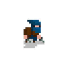 pixel character assassin for games and web sites