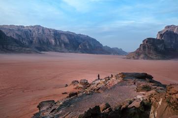 Jordan national park Wadi Rum desert. Beautiful view and panoramatic picture. Natural background. Sunset in a desert.