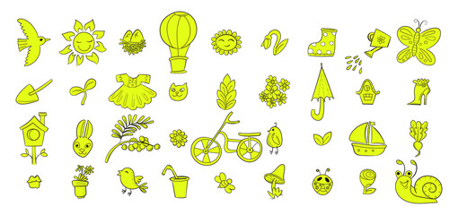 Fresh colored vector set with cute spring doodle elements. Illustration with birds, flowers, bicycle and assesories in doodle style. Hello Spring. Design for prints, scrap booking.
