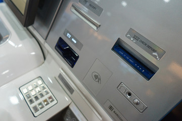 Front ATM panel with a keyboard for entering a password, a fingerprint scanner and a wireless connection.