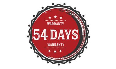 54 days warranty rubber stamp