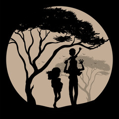 Silhouette scene with family in park