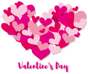 Valentine card template with pink hearts