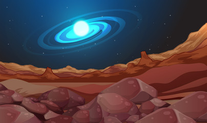 Space background with brown land