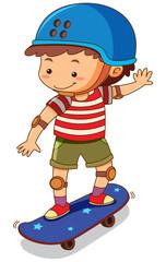 Little boy playing skateboard