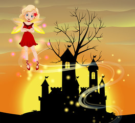 Silhouette scene with fairy flying
