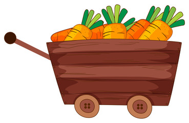 Fresh carrots in wooden wagon