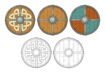 Set wood round shields with viking runes, iron border. Engraving
