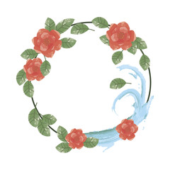 wreath of red flowers with green leaves and blue water on a white background