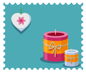 Romantic pink and white candles and white heart on the blue background. Candy colors vector flat icon.
