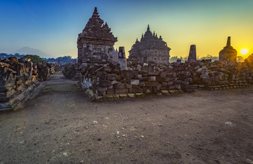 """North Plaosan Temple, its also called """"twin temple"""" located in central Java, Indonesia."""