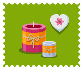 Romantic pink and white candles and white heart on the green background. Candy colors vector flat icon.